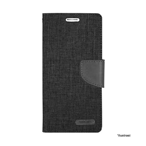 Mercury Canvas Diary Samsung Galaxy Note 4 Edge - Hitam