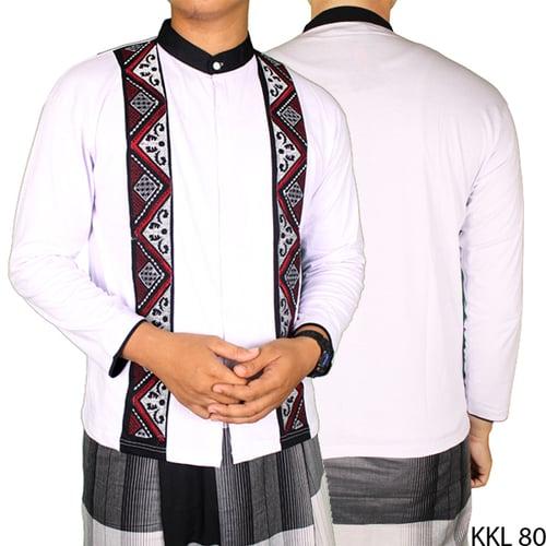 Baju Koko Bordir Katun Lengan Panjang KKL 80 Putih Kombinasi