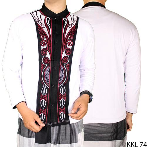 Baju Koko Bordir Katun Lengan Panjang KKL 74 Putih