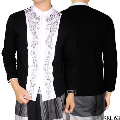 Baju Koko Lengan Panjang Bordir Terbaru KKL 63 Hitam