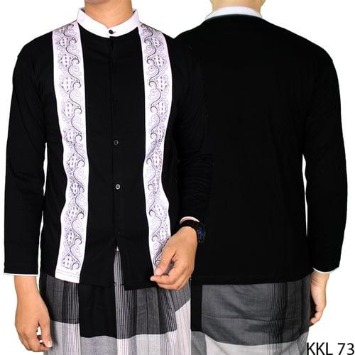 Baju Koko Bordir Katun Lengan Panjang KKL 73 Hitam Putih
