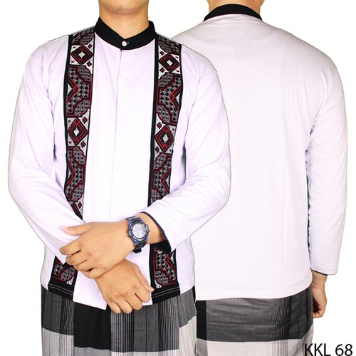 Baju Koko Bordir Katun Lengan Panjang KKL 68 Putih