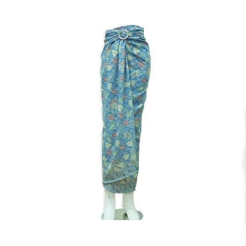 Rok Lilit / Rok Batik Panjang Motif Daun Talas Biru