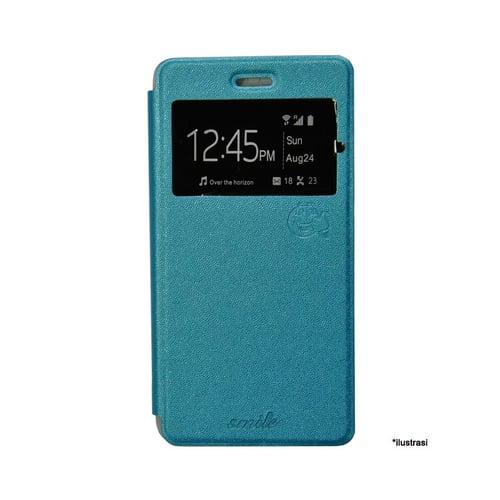 SMILE Flip Cover Case Andromax E2 - Biru Muda