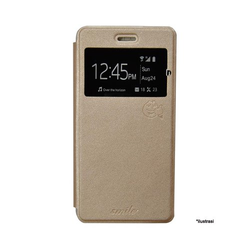 SMILE Flip Cover Case Lenovo A6000 or Plus -  Gold