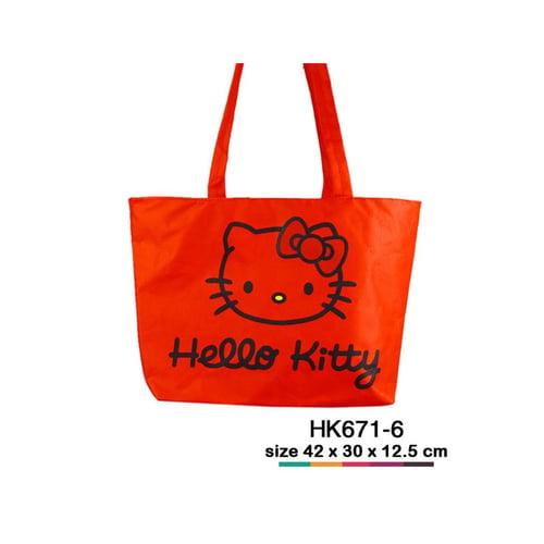 Tas jinjing kanvas Hello Kitty simple Merah HK671-6