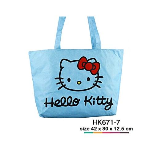 Tas jinjing kanvas Hello Kitty simple Biru langit HK671-7