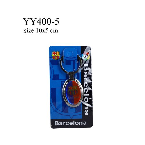 Gantungan kunci metal oval klub bola Barcelona YY400-5