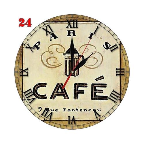 Natural #24 Hiasan Interior Kafe Jam Dinding Motif Retro Klasik