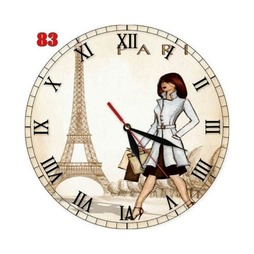 Natural #83 Jam Dinding MDF Retro Motif Gambar Menara Eiffel Gadis Paris Prancis