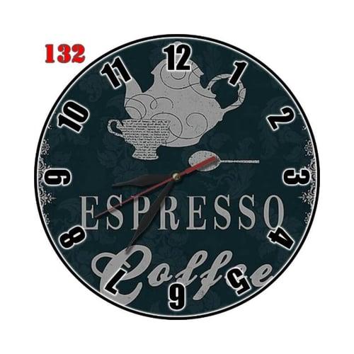 Natural #132 Jam Dinding MDF Espresso Coffee Motif Kafe Hiasan Interior Nuansa Klasik Vintage