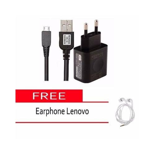 LENOVO Travel Charger Micro USB Hitam Free Handsfree Putih