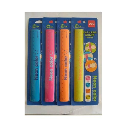 DELI Pat n Ring Ruler 18 cm Neon Color