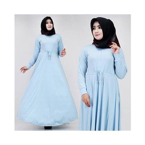 Gamis Fatia Polos Soft Blue