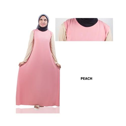 Gamis Lengan Pendek Jersey Peach