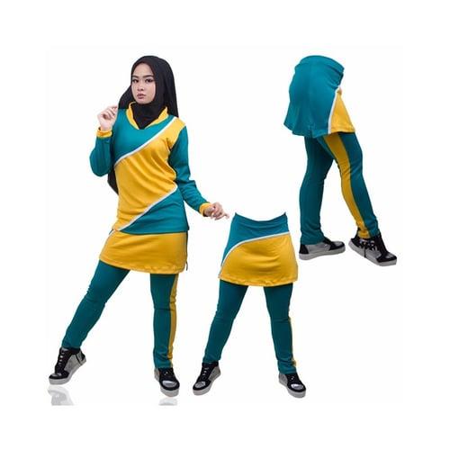 Setelan Senam Panjang Celana Rok Tosca Kuning