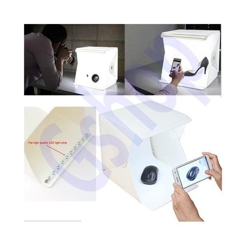 Portabel Mini Foto Studio Fotografi Box With Led Light Include 2 Background
