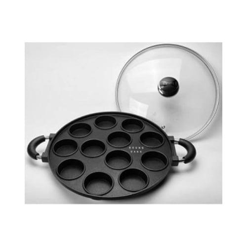Cetakan Kue Lumpur Dorayaki Pancake Snackmaker Teflon 12 Lubang Bulat