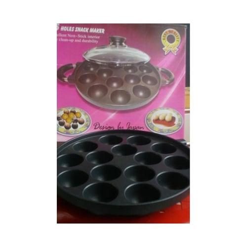 Snackmaker Teflon 15 Lubang Cetakan Kue Cubit Takoyaki / Pofertjes Dll