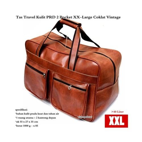 Tas Travel Kulit Suede PRD 2 Pocket  XX-Large  Coklat Vintage