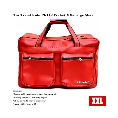 Tas Travel Kulit Suede PRD 2 Pocket  XX-Large  Merah