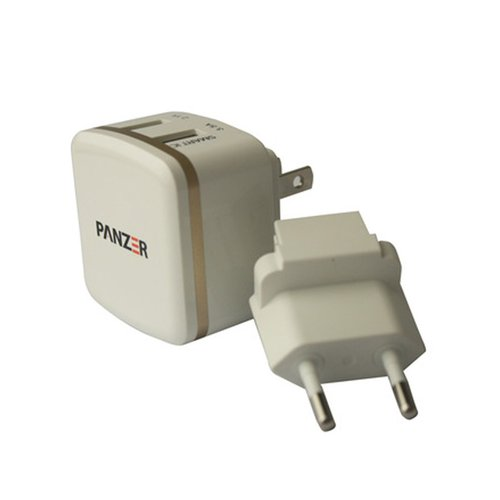 panzer Travel Charger 2 USB Ports with Smart IC dan Fast Charging 3.5A Putih