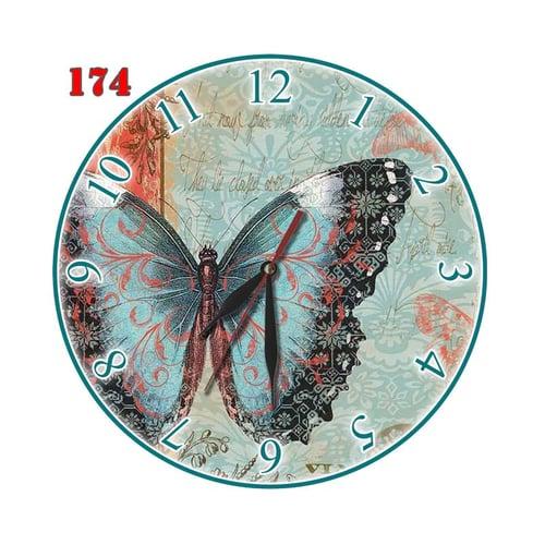 Natural # 174 Jam Dinding Retro Motif Kupu Kupu Hiasan Interior Ruang - Multi colour