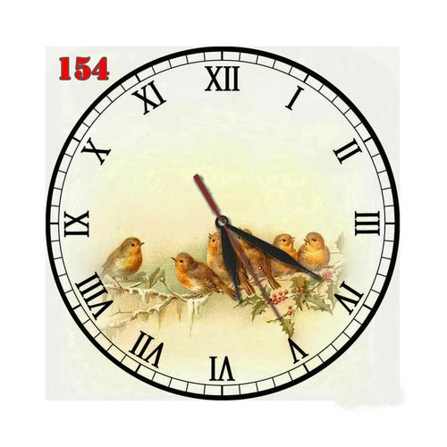 Natural # 154 Jam Dinding Unik Motif Lukisan Burung Hiasan Interior  - Multi colour