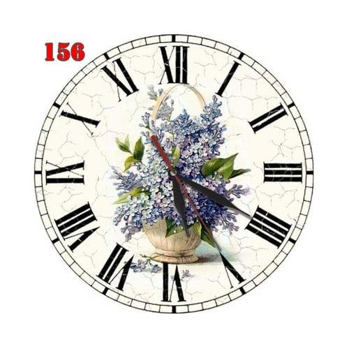 Natural # 156 Jam Dinding Motif Bunga Hiasan Retro Vintage - Multi colour