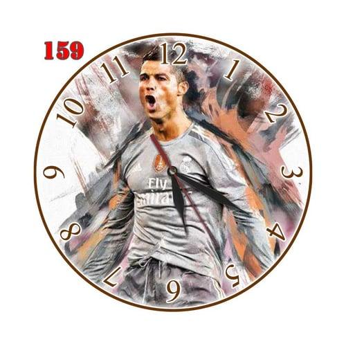 Natural # 159 Jam Dinding MDF Motif Pemain Sepak Bola Soccer Cristiano Ronaldo - Multi colour