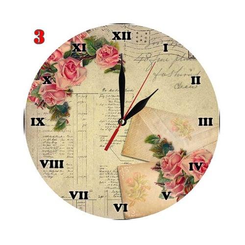 3 Jam Dinding Unik Motif Bunga Vintage