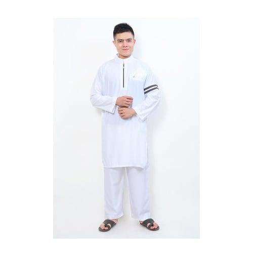 AL-ISRA Setelan Muslim Gamis Pria Nabawi Putih