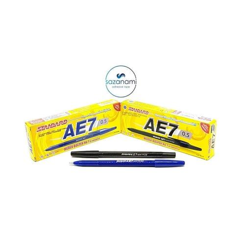 1 BOX STANDARD Pulpen Ballpoint AE 7 0.5 Hitam Biru Pen