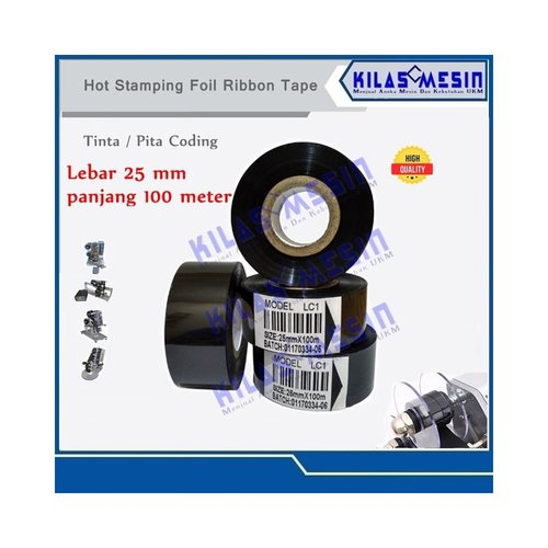 Tinta Pita Mesin Coding Ribbon Tape 25 mm x 100 m LC1
