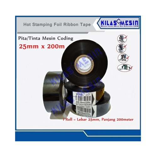 Ribbon Tape LC1 Hitam Tinta Coding Pita Cetak Expiry Date