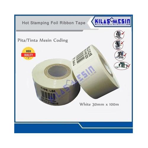 Ribbon Tape Putih Pita Tinta Mesin Coding Expired Date