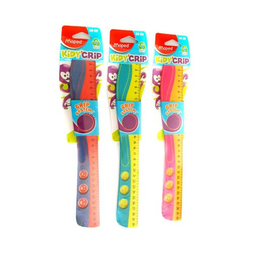 MAPED Penggaris Kidy Grip 30 cm (Anti-slip, Shock Resistant) - Yellow