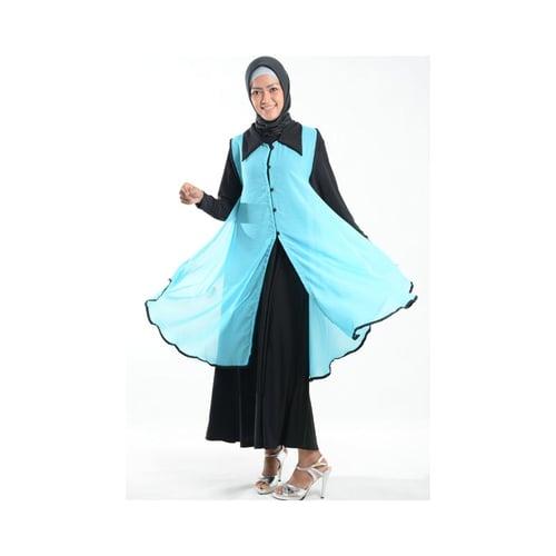 Cardigan Outer Cantik Bahan Ceruti Muslim Gamis Biru