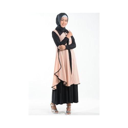 Cardigan Outer Cantik Bahan Ceruti Muslim Gamis Peach