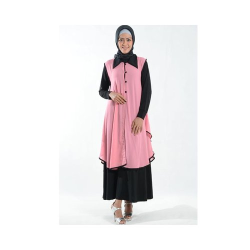 Cardigan Outer Cantik Bahan Ceruti Muslim Gamis Pink