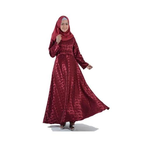 Gamis Cantik Bahan Jaguar Glitter Import Merah