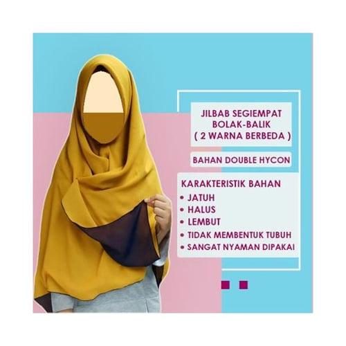 Jilbab Segiempat Double Hycon Bolak-Balik 2 Warna Hijab Syar`i 115 x 115 Kuning