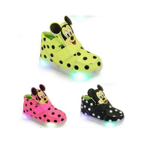 Sepatu Anak Sekolah Unisex Mickey Mouse Lampu Led
