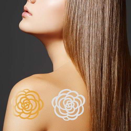 Flower Patern Temporary Hair Sticker RA6FBD Gold Silver 6pcs