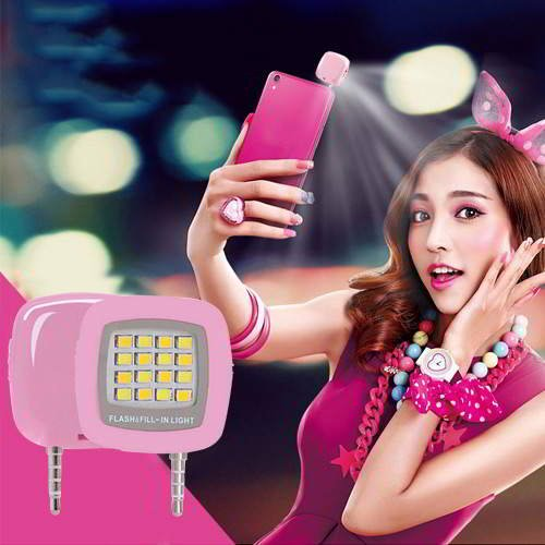 Square LED Beauty Selfie Timer Pink RBC6F8 6pcs