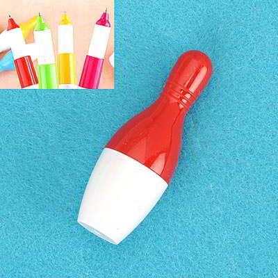 Korean Flexible Bowling Design Pen Red SBA8FE 6pcs
