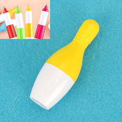 Korean Flexible Bowling Design Pen Yellow SBA8FC 6pcs