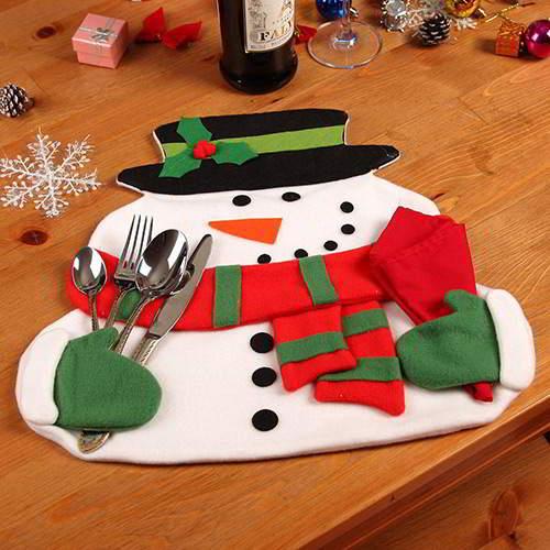 Flower Christmas Snowman Table Mat RC8EFE Red White 6pcs