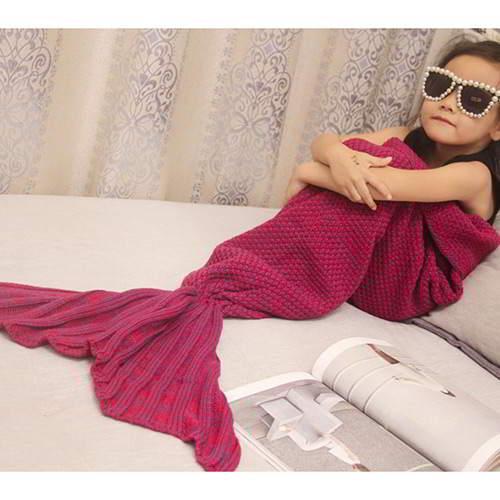 JRK Kids Mermaid Pure Color Blanket RBC7F6Claret Red 6pcs