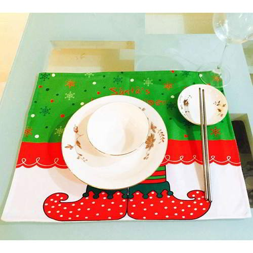Snowflake Boots Square Table Mat RC8EFCRed White 6pcs